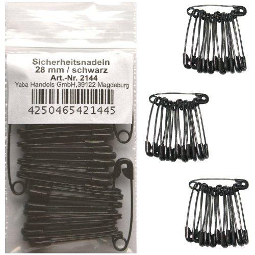 36 Sicherheitsnadeln ca. 28 mm schwarz, Sicherheits- Nadel Nadeln, 2144/(28 mm) (Schwarze Nadeln)
