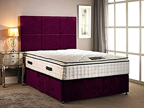 Divan Bed chenille fabric different colour with High Pillow top 30cm Deep mattress with two drawers on same side with headboard in different size variation (5FT KING, Aubergine)