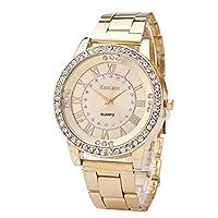 Womens Rhinestone Quartz Watches,Byeel Fashion Analog Lady Wrist Watch Female Watches Watches for Women,Round Dial Case Comfortable Stainless Steel Wristwatch(Gold)