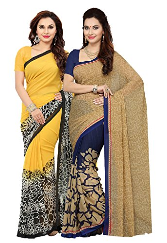 Ishin Combo of 2 Faux Georgette Women's Sarees.