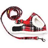ZackX Hundegeschirr-Set, Fleece, Leine, weich, kein Ziehen, pink + schwarz, Plaid,Weste für Outdoor, Indoor