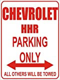 INDIGOS - Parkplatz - Parking Only- Weiß-Rot - 32x24 cm - Alu Dibond - Parking Only - Parkplatzschild - Chevrolet hhr