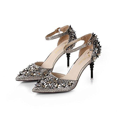 Punta di alta scarpe tacco punta occidentale dellalto-scarpe tacco Scarpe donna fiori hasp scanalato con sottili The Gold