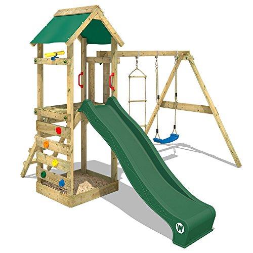WICKEY Spielturm FreeFlyer Kletterturm mit Rutsche Schaukel Sandkasten Kletterwand Sandkasten, grüne Dachplane + grüne Rutsche