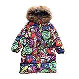 Daunenmantel Daunenjacken für Kinder Mädchen Fashion Lang Oberbekleidung Kapuze Winter Kleidung Wintermantel Mantel Jacket Trenchcoat Parka Outerwear (Rot, (Höhe120CM-130CM) Etikett 140)