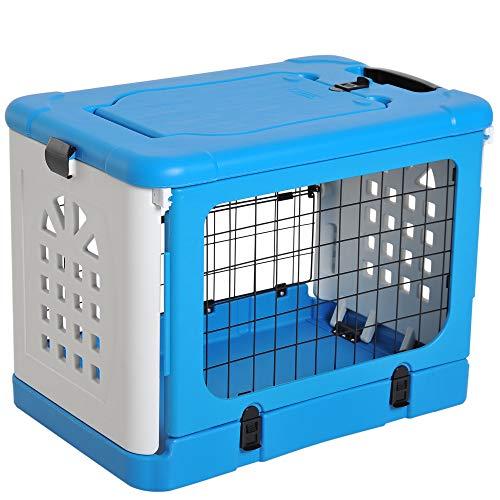 Pawhut Gabbia Pieghevole da Trasporto per Animali Domestici Cani Gatti in Plastica Blu 68x46x53cm