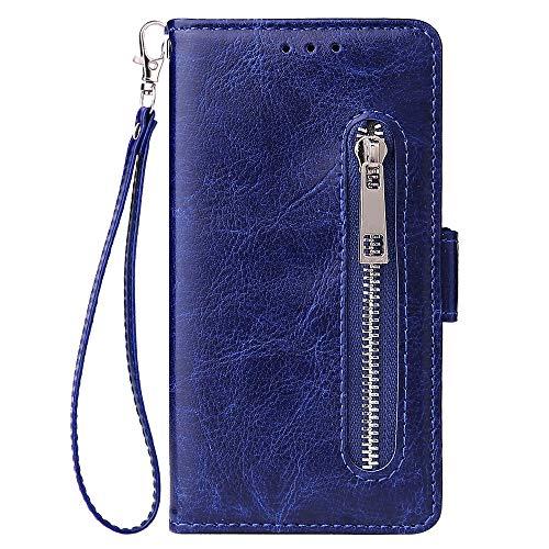 ZCXG Handyhülle für Samsung Galaxy A3 2017 Hülle,Schutzhülle für Samsung Galaxy A3 2017 Hülle Leder Blau,Tasche Hülle Silikon Stand Flip Cover mit Magnet Kartenfach Brieftasche für Damen Männer