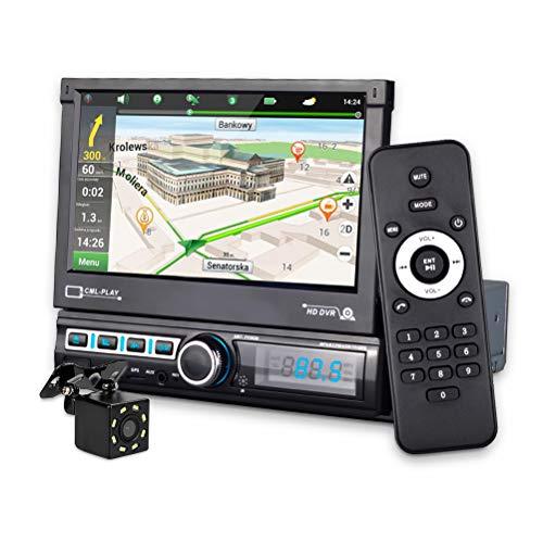 MiCarBa Touchscreen Single Din Autoradio mit GPS-Navigation / Rückfahrkamera, 7-Zoll-HD-Auto-Videoplayer automatischem mit und Fernbedienung