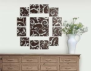 Leinwandbild Weiße Ranken 13-teilig Schnörkel Kringel Ornamente Floral Muster, Leinwand, Leinwandbild XXL, Leinwanddruck, Wandbild