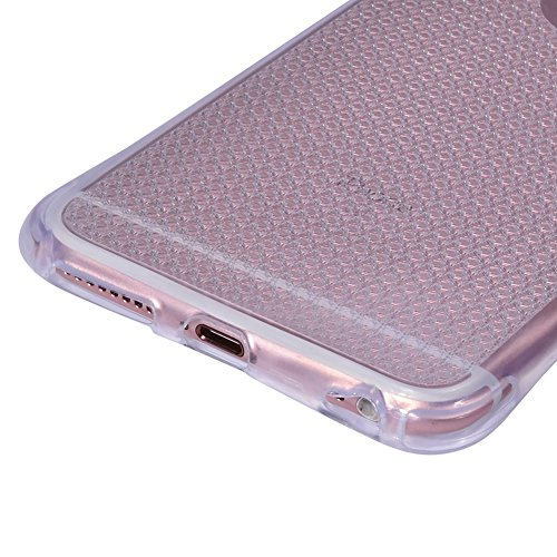 iPhone 6/6S Coque antichoc, iPhone 6/6S Plus Bumper Coque Cristal [Protection complète] Coussin d'Air Technologie Coins + doux slim Coque en TPU Transparent avec design granuleux absorba