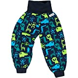 "Lilakind"" Jungen Pumphose Hose Babyhose Jersey Fleece Tiermuster Zootiere Herbst Winter Blau Grün Gr. 98/104 - Made in Germany"