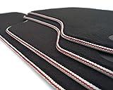 Premium Fußmatten Velour Cabrio 8V, Weiß mit Roten Streifen, 4-teiliges Set