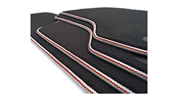 Kh Teile Fußmatten Passend Für A3 S3 Velours Premium Qualität 4 Teilig Weißer Rand Mit Edlem Roten Streifen Auto