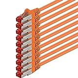 1aTTack CAT6PIMF SSTP Netzwerk Patch-Kabel mit 2x RJ45Stecker doppelt geschirmt 5Stück - orange - 10 Stück 0,5 Meter