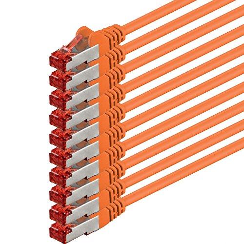 1aTTack.de 82340 - 0,25m - CAT6 Netzwerkkabel CAT.6 Patchkabel (PoE) Ethernetkabel SFTP PIMF 1000 Mbit/s - 10 Stück - orange -