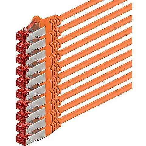 1aTTack - Cable de red SSTP PIMF con 2 conectores RJ45 de doble apantallamiento CAT 6 0 Naranja - 10 piezas 0,25 m