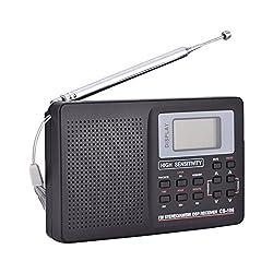 Richer-R Tragbares Digitales Radio, Digital Uhrenradio FM/AM/SW/LW Vollband Radio Vollfrequenzempfänger,Multi-Band-Radio Lautsprecher mit LCD-Anzeige Wecker Externe Antenne Schwarz(Schwarz)