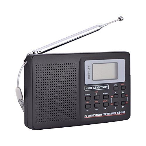 Zerone AM FM Pocket Radio Tragbar SW/LW / TV Empfänger mit Uhr und Wecker