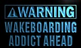 Enseigne Lumineuse n086-b Warning Wakeboard Addicted Ahead Neon Light Sign