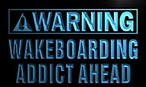 ADV PRO n086-b Warning Wakeboard Addicted Ahead Neon Light Sign Barlicht...
