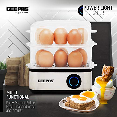 51JxQ63zBPL. SS500  - Geepas 2 in 1 Egg Boiler and Poacher – Capacity for 16 Eggs - Electric Egg Cooker, Poaching Bowl & Measuring Cup with Egg Piercer Included - Perfect Soft Medium & Hard Boiled Eggs - 2 Year Warranty