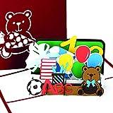Karte zur Einschulung – Glückwunschkarte, Einladungskarte & Einschulungsgeschenk für die Schultüte - bunte 3D Pop Up zum ersten Schultag – Geschenk für Jungen & Mädchen