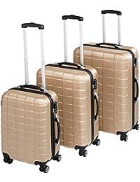 TecTake Set de 3 valises de Voyage de ABS | avec Serrure à Combinaison intégrée | poignée télescopique | roulettes 360° - diverses Couleurs au Choix (Champagne| no. 402674)