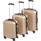 TecTake Set di 3 valigie ABS rigido trolley valigia bagaglio a mano | sistema di rotelle girevoli a 360° | serratura di sicurezza a combinazione numerica - disponibile in diversi colori (Champagne | no. 402674)
