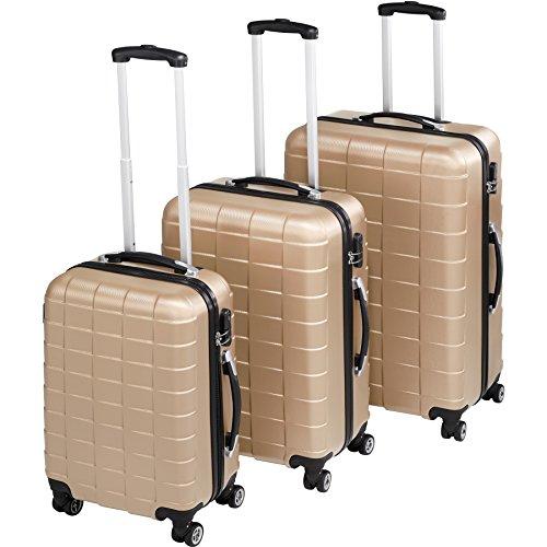 TecTake Set di 3 Valigie ABS rigido trolley | sistema di rotelle girevoli a 360° | serratura di sicurezza a combinazione numerica - disponibile in diversi colori (Champagne | no. 402674)