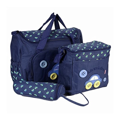 Lot 4Pcs Windel-Beutel Schulter Baby Aufbewahrungs tasche für Mom Mutterschaft, Tasche Innen Außen Flaschentasche Schicht / Matratze, Mama-Handtaschen Pomenade Perfekt Camping Trip Blau