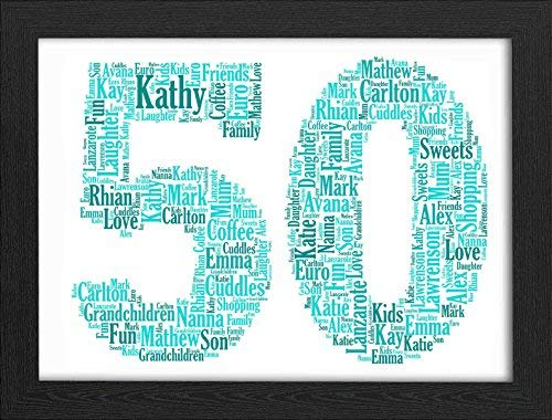 50th Birthday UPK Gifts Personalised Word Art Gift Keepsake Any Age 50 1st 16th 18th 21st 30th 40th 60th 70th Son Daughter Dad Daddy Grandad Mum Gran