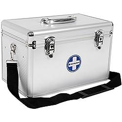 SONGMICS Premiers Secours Portables Médecine Stockage Pill Box Médecine Drug Sangle de Transport avec poignée de Transport Barres en Aluminium ABS Silvery Jbc362s