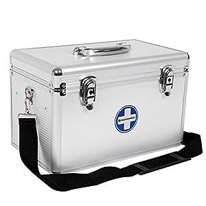 Songmics JBC362S Erste Hilfe Koffer Medizin-Box  mit Tragegriff Aluleisten ABS silbrig