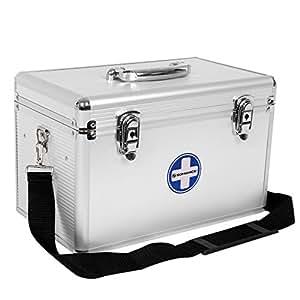 SONGMICS JBC362S Valigetta di primo soccorso per medicinali portatile con maniglia e tracolla, bande in alluminio, sistema antibloccaggio, argentata