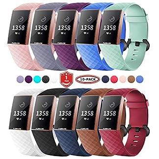 FunBand Correa para Fitbit Charge 3, Edición Especial Soft Silicona Deportes Recambio de Pulseras Ajustable Reemplazo Accesorios para Reloj Fitbit Charge 3