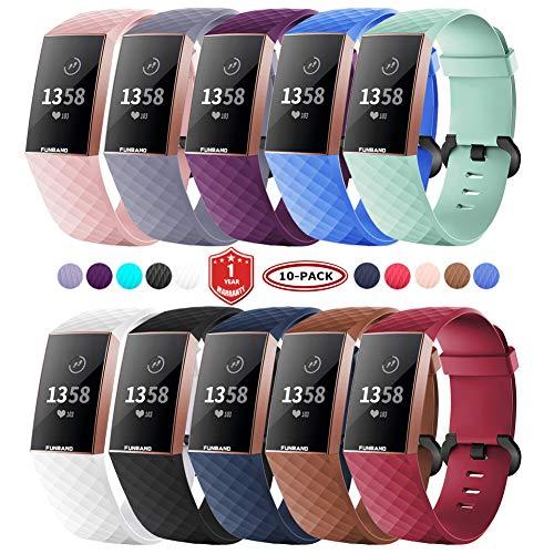 FunBand für Fitbit Charge 3 Armband,Klassisch Verstellbares Ersatz weiches Silikon Sporty Wrist Strap Band Armbanduhr Uhrenarmband Schlaufe Armbänder für Fitbit Charge 3 Smartwatch (Small/Large)