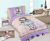 BAMBINA Bambola Con Sciarpa - Set LETTO Singolo COPRIPIUMINO 140x200cm + FEDERA 100% COTONE Originale