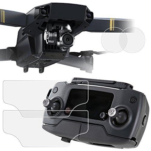 Air und Objektivschutz für DJI Mavic Pro Drone Quadcopter, AFUNTA 2 Abort (4 Stück) PET Schutzfolien für Fernbedienung Bildschirm und Anti-Kratzer gehärtetes Glas für Kamera-Objektiv