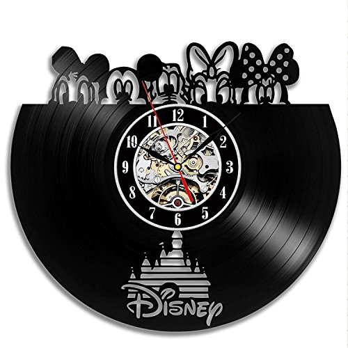 Creative Disney Movie Character Thema handgefertigte Vinyl-Platten-WanduhrVintage DIY Heimdekoration30,5 cm schwarz rund