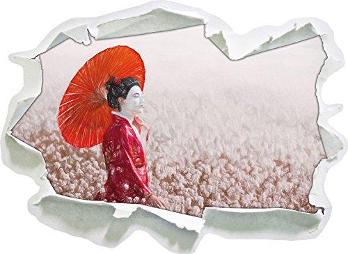 Geisha auf dem Feld Kunst Buntstift Effekt, Papier 3D-Wandsticker Format: 62x45 cm Wanddekoration 3D-Wandaufkleber Wandtattoo
