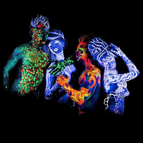 neon nights UV-Licht Bodypainting Schminke | Schwarzlicht-Körperfarbe für Body und Facepainting | Fluoreszierende Farben im Schminkset für knalligen Glow-Effekt | 8 x 20ml Leucht-Farben - 3