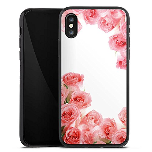 Apple iPhone X Silikon Hülle Case Schutzhülle Rosen Blüten Pink Silikon Case schwarz
