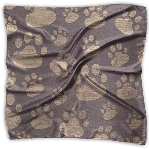 xiadayu Footprints Texture Women's Large Square Satin Head Bandanas Silk Like Neckerchief
