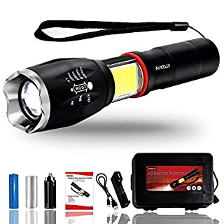 Aukelly LED Torch Rechargeable Torches Flashlight Tactical LED Torches,6 Modes High Lumens Flashlight Bright LED Torch Tactical Waterproof Bright LED Torch Rechargeable Zoomable Magnetic Handheld Torch with Charger,for Camping,Hiking,Emergency,18650 Battery Included