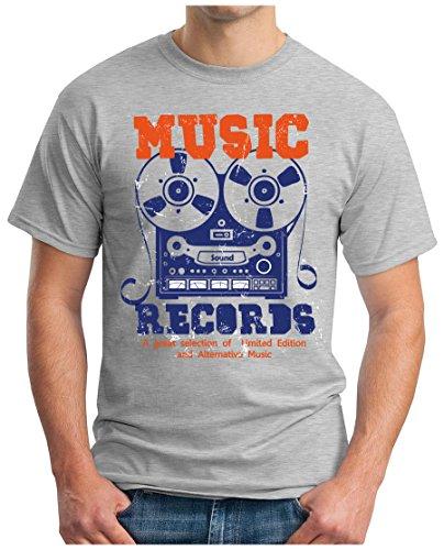 OM3 - MUSIC-RECORDS - T-Shirt ROCK POP CASSETTE ALTERNATIVE TAPE RECORD LP MC CD Grau Meliert