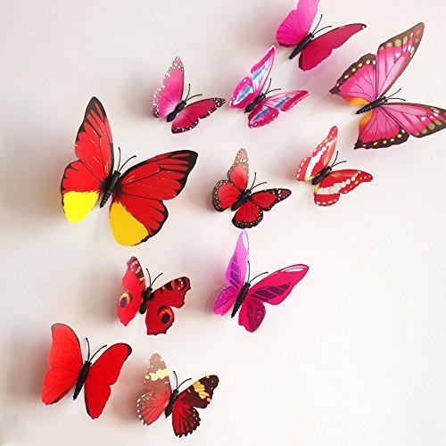 ZooYoo - 12 mariposas adhesivas 3D decoración pared