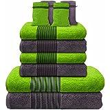 Liness-Stripes 10 tlg Handtuch-Set 4 Handtücher 50x100 cm 2 Duschtücher Badetücher 70x140 cm 4 Waschhandschuhe Waschlappen 16x21 cm 100% Baumwolle grau-anthrazit grün