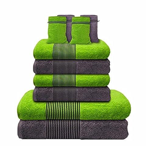 Liness Stripes 10 tlg Handtücher Set grün grau 4 Handtücher grau grün 50x100 cm 2 Badetuch Duschtuch 70x140 cm 4 Waschhandschuhe Waschlappen 100% Baumwolle Frottee Handtuch-Set grau grün