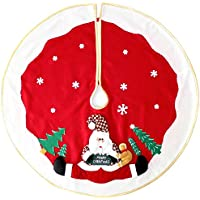 WeRChristmas Christmas Tree Skirt Decoration with 3D Father Christmas and Snow Design, 100 cm - Large, Red
