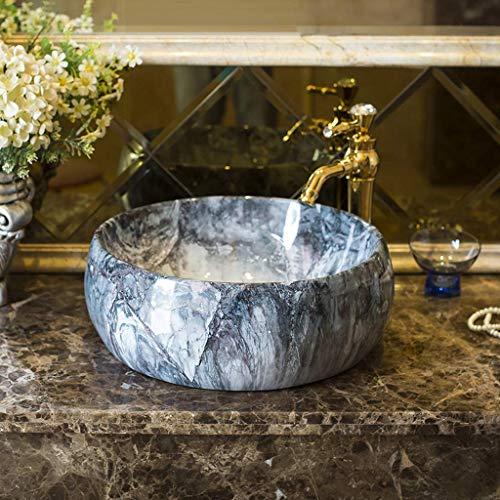 Penz Plan vasque de salle de bain, lavabo en marbre - Lavabo en céramique - Ménage rond Art Artin - 41X15Cm